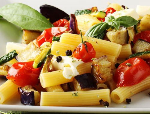 Sedanini pasta with vegetable sauce